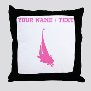 Pink Sail Boat Silhouette (Custom) Throw Pillow