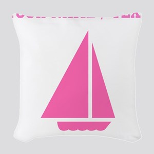 Pink Sail Boat (Custom) Woven Throw Pillow