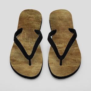 Brown ghostly brown grunge Flip Flops