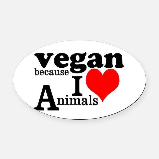 Vegan Oval Car Magnet
