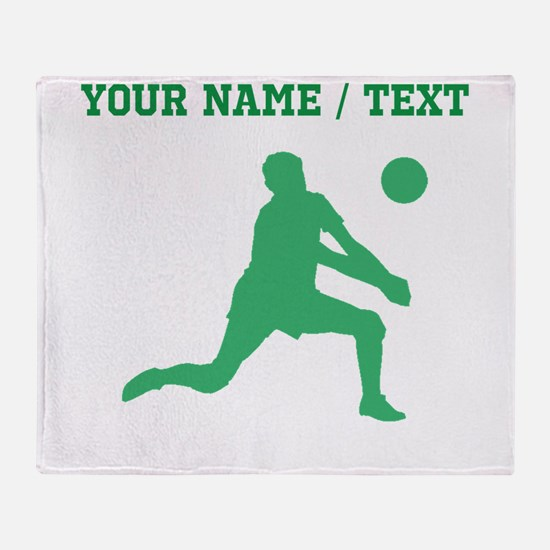 Green Volleyball Set Silhouette (Custom) Throw Bla