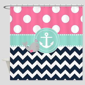 Pink Navy Whale Chevron Shower Curtain