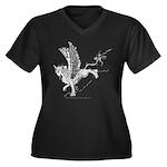 Miss Sphinx Women's Plus Size V-Neck Dark T-Shirt