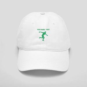 Green Discus Throw Silhouette (Custom) Baseball Ca