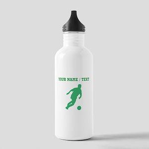 Green Soccer Player Silhouette (Custom) Water Bott