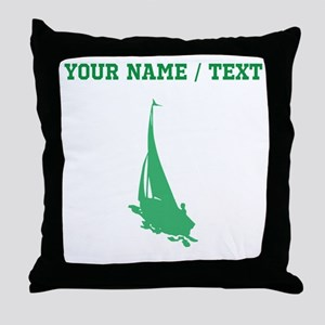 Green Sail Boat Silhouette (Custom) Throw Pillow
