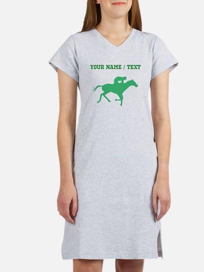 Green Horse Racing Silhouette (Custom) Women's Nig