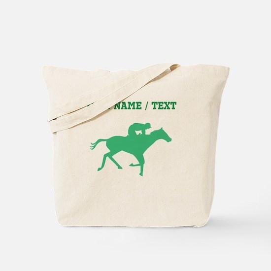 Green Horse Racing Silhouette (Custom) Tote Bag