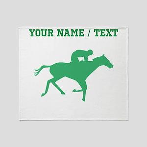 Green Horse Racing Silhouette (Custom) Throw Blank