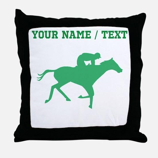 Green Horse Racing Silhouette (Custom) Throw Pillo