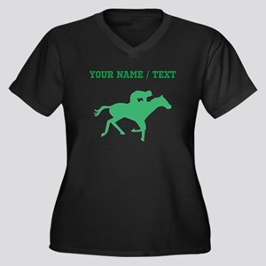 Green Horse Racing Silhouette (Custom) Plus Size T