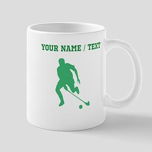 Green Field Hockey Player Silhouette (Custom) Mugs