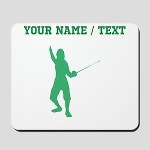 Green Fencer Silhouette (Custom) Mousepad