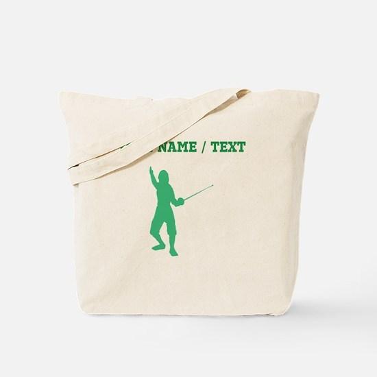 Green Fencer Silhouette (Custom) Tote Bag