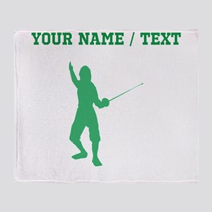 Green Fencer Silhouette (Custom) Throw Blanket
