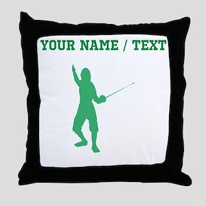 Green Fencer Silhouette (Custom) Throw Pillow