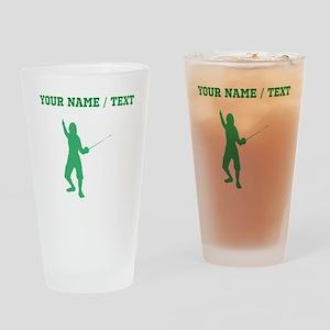 Green Fencer Silhouette (Custom) Drinking Glass