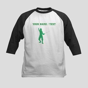 Green Fencer Silhouette (Custom) Baseball Jersey