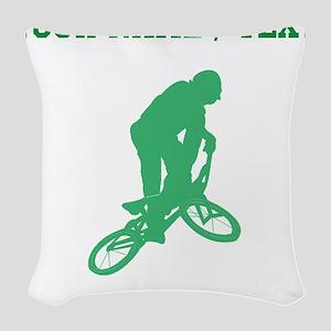 Green BMX Biker Silhouette (Custom) Woven Throw Pi