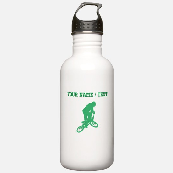 Green BMX Biker Silhouette (Custom) Water Bottle
