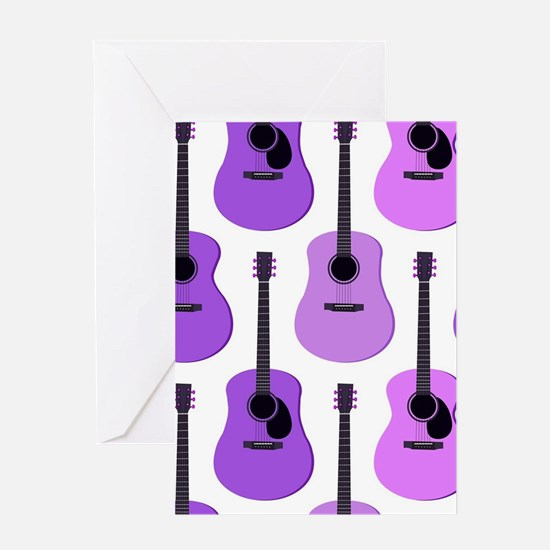 Purple Acoustic Guitars Pattern Greeting Card