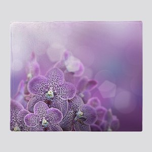 Purple Frosted Flowers Throw Blanket