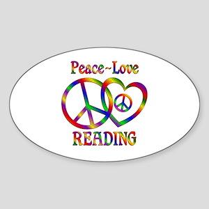 Peace Love Reading Sticker (Oval)