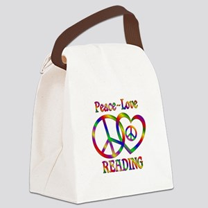 Peace Love Reading Canvas Lunch Bag