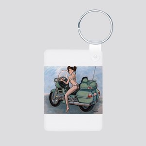 Wild Thing on a GoldWing Aluminum Photo Keychain