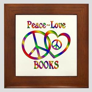 Peace Love Books Framed Tile