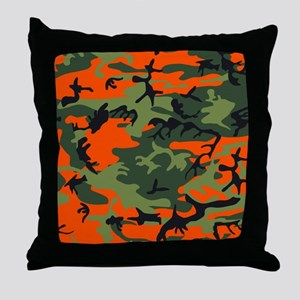 Orange and Green Camo Throw Pillow