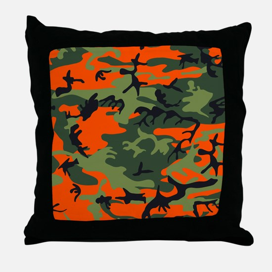 Orange and Green Camo Throw Pillow