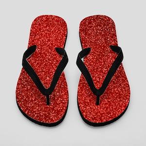 Ruby Red Glitter Flip Flops