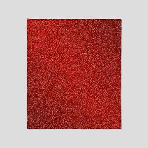 Ruby Red Glitter Throw Blanket