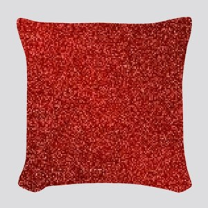 Ruby Red Glitter Woven Throw Pillow