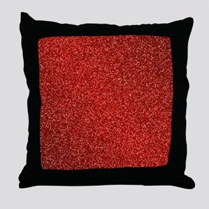 Ruby Red Glitter Throw Pillow