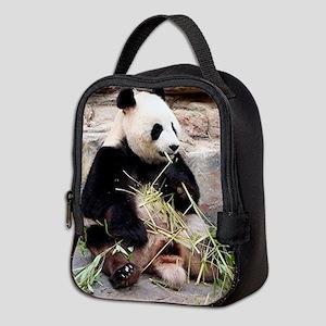Panda bear eating bamboo at zoo Neoprene Lunch Bag