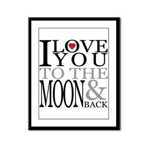 I love you to the moon and back Framed Panel Print