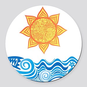 Sun and Sea Round Car Magnet