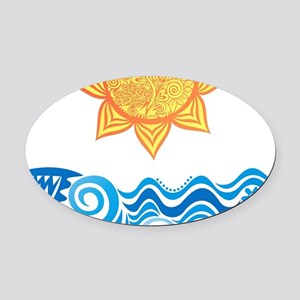 Sun and Sea Oval Car Magnet
