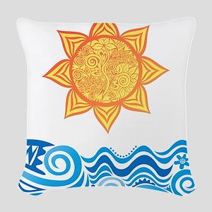 Sun and Sea Woven Throw Pillow