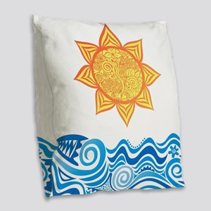 Sun and Sea Burlap Throw Pillow