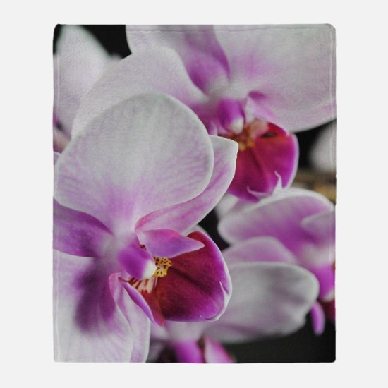 Two Pink White Orchids Throw Blanket