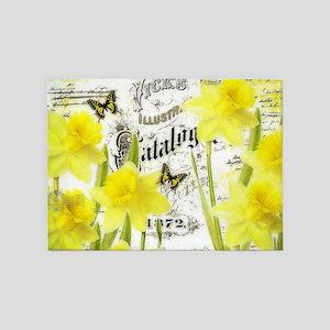 Vintage daffodils 5'x7'Area Rug