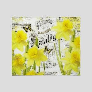 Vintage daffodils Throw Blanket