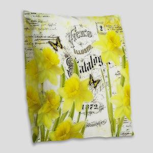 Vintage daffodils Burlap Throw Pillow