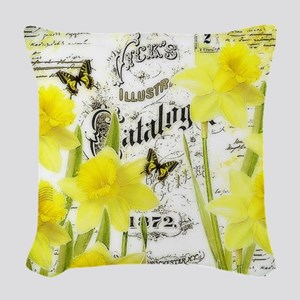 Vintage daffodils Woven Throw Pillow