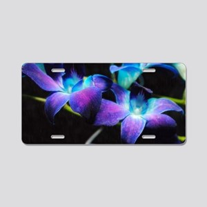 Two Purple Orchids Aluminum License Plate