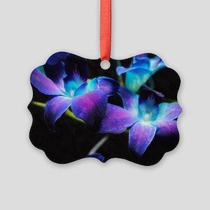 Two Purple Orchids Picture Ornament