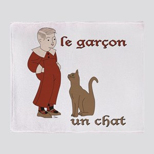 Garcon et Chat Throw Blanket
